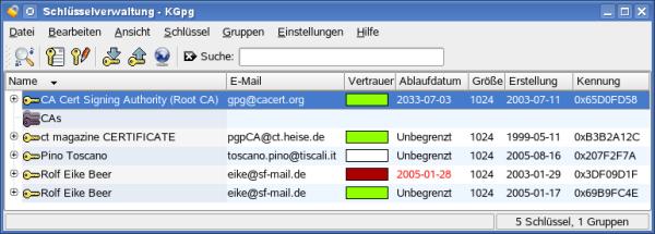 Screenshot of KGPG 1.2.2 as in KDE 3.5.7